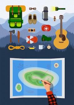 Infográfico de equipamentos para caminhadas recreativas ao ar livre definido na paisagem de montanhas.