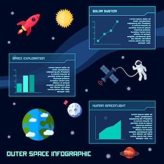 Infográfico de espaço definido com símbolos de observação de galáxia astronomia e gráficos de ilustração vetorial