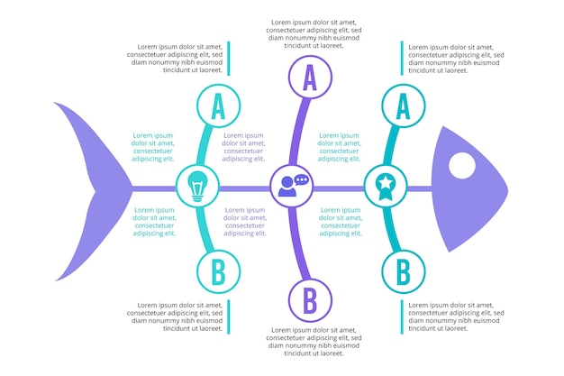 Infográfico de espinha de peixe em design plano