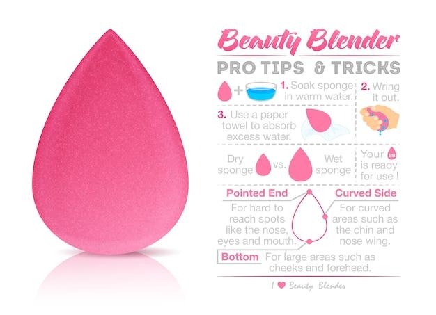 Infográfico de esponja isolado no fundo branco. liquidificador de beleza para o seu design, venda ou publicidade.