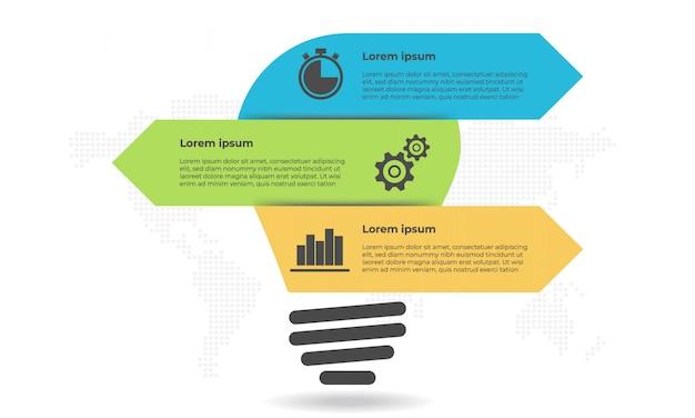 Infográfico de estilo lâmpada e flecha 3 opções.