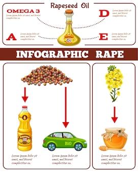 Infográfico de estupro com benefícios do óleo de colza