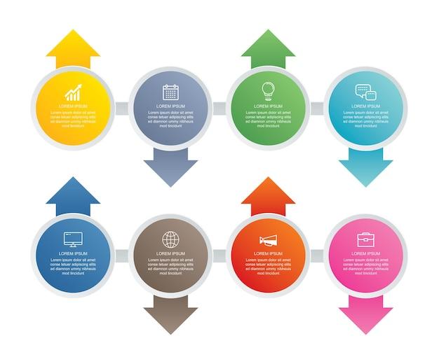 Infográfico de etapa de 8 círculos com modelo de cronograma abstrato.