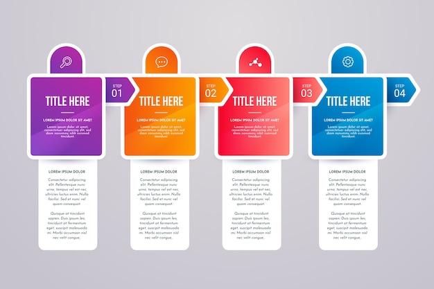 Infográfico de etapas coloridas