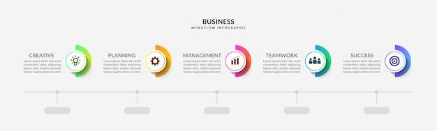 Infográfico de etapas com fluxo de trabalho de várias opções