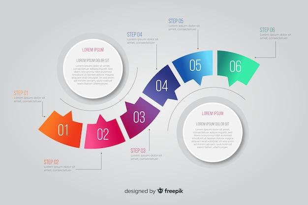 Infográfico de etapas com formas arredondadas