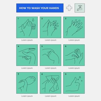 Infográfico de etapas de sabão e enxágue de mãos