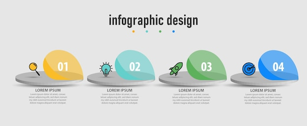 Infográfico de etapas do diagrama de negócios de etapas de design moderno de modelo