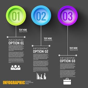 Infográfico de etapas do trabalho em equipe, layout preto com botões numerados