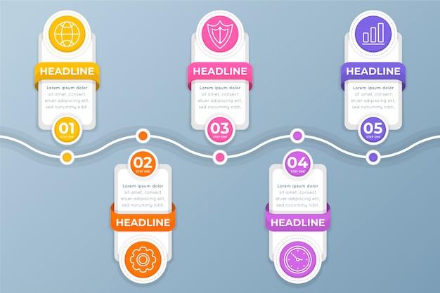 Infográfico de etapas em design plano