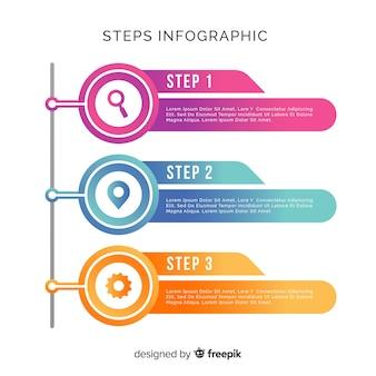 Infográfico de etapas em estilo gradiente