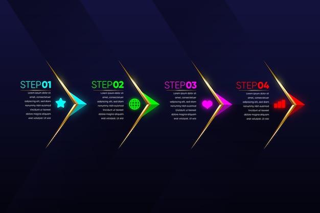 Infográfico de etapas multicoloridas