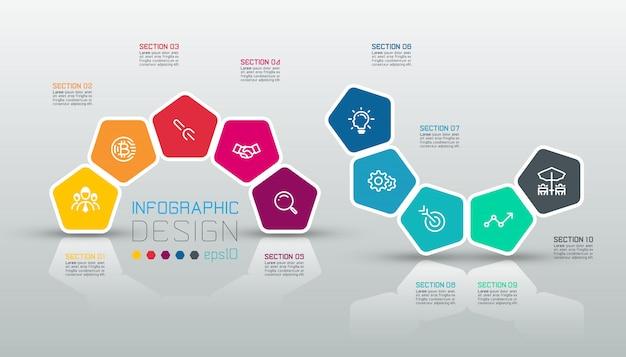 Infográfico de etiqueta pentágonos Vetor Premium