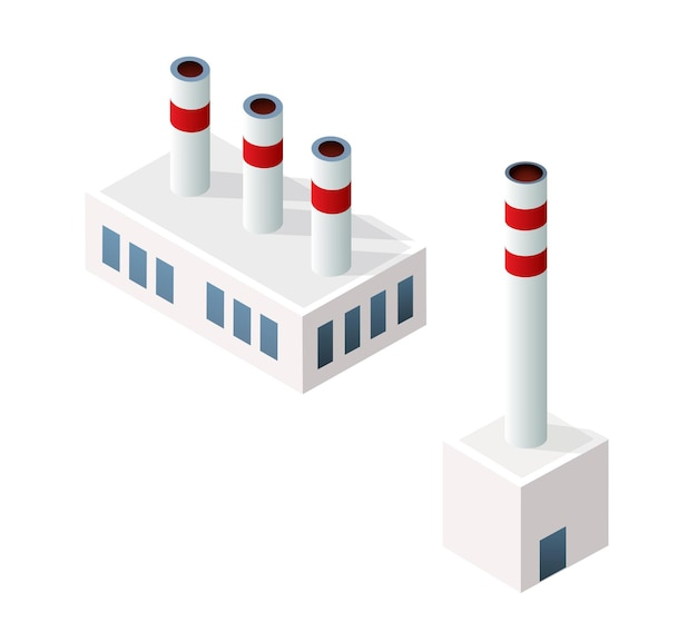 Infográfico de fábrica urbana industrial isométrica do módulo 3d da cidade