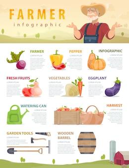 Infográfico de fazenda e agricultura
