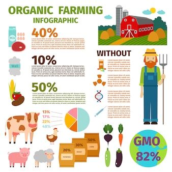 Infográfico de fazenda orgânica