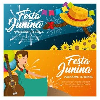 Infográfico de festa junina com chapéu tranças flores e mulher segurando illsutration de vetor de guitarra