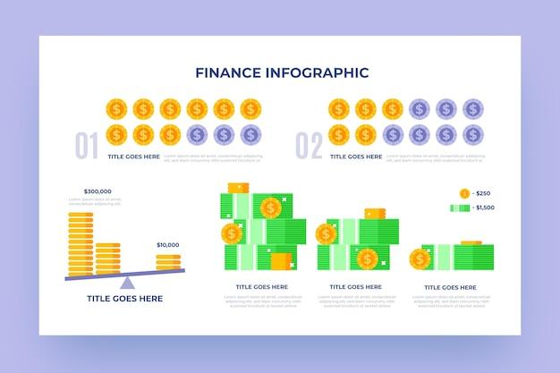 Infográfico de finanças com diferentes elementos ilustrados