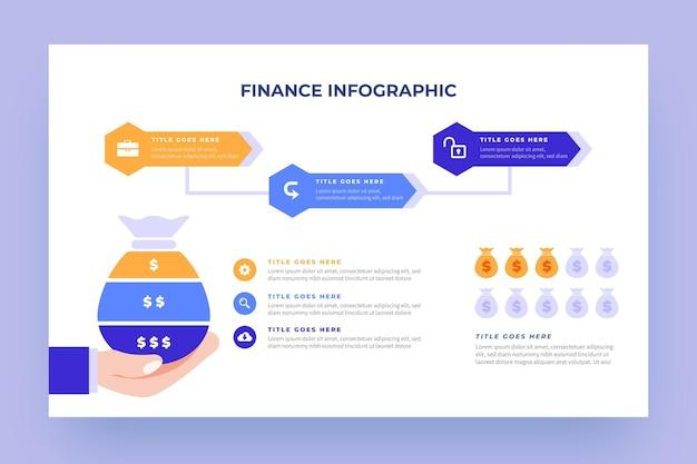 Infográfico de finanças com elementos ilustrados