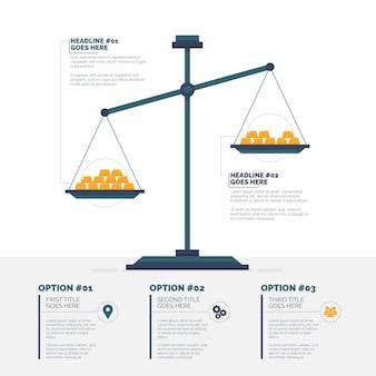 Infográfico de finanças com escala de equilíbrio