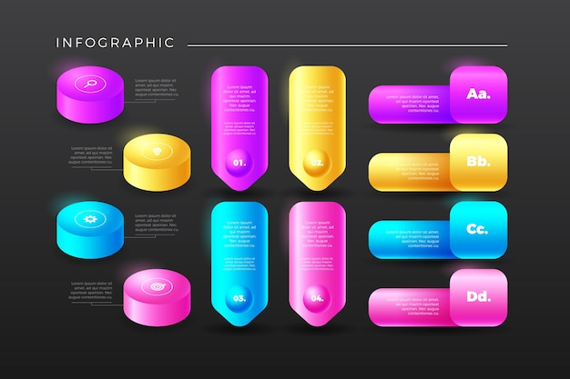 Infográfico de flossy colorido 3d com etapas e caixas de texto