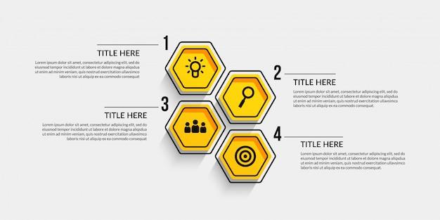Infográfico de fluxo de trabalho com quatro opcionais