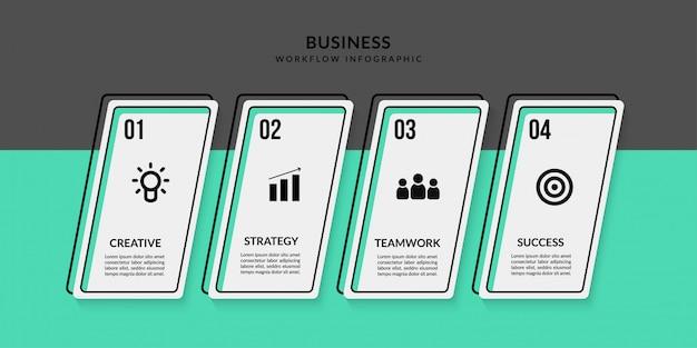 Infográfico de fluxo de trabalho com várias opções, comunicação de dados de estrutura de tópicos para relatório de negócios