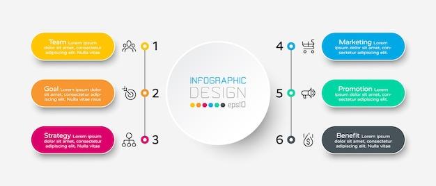 Infográfico de fluxo de trabalho de 6 etapas.
