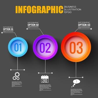 Infográfico de fluxo de trabalho de negócios com ícones de rede criativos e três botões funcionais coloridos numerados planos