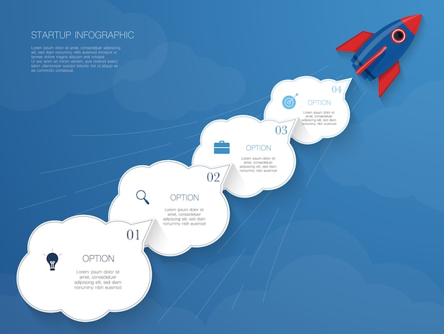 Infográfico de foguete, ilustração vetorial com forma de 4 nuvens para texto