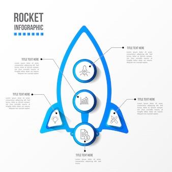 Infográfico de foguete moderno com mesa 3d
