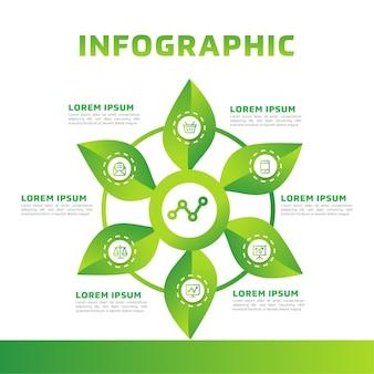 Infográfico de folhas verdes. diagrama de negócios verdes e modelo.