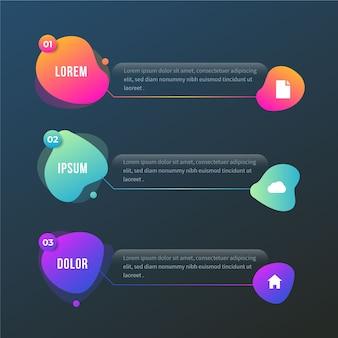 Infográfico de forma abstrata gradiente com espaço de texto