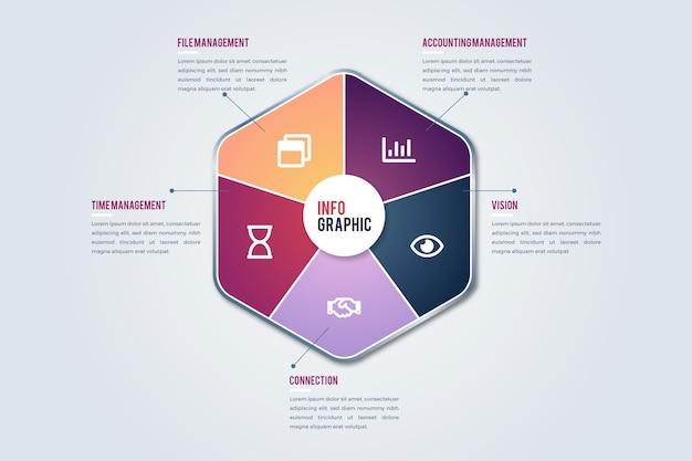 Infográfico de forma abstrata gradiente