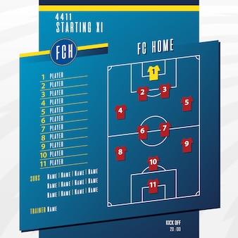 Infográfico de formação de escalações de jogo de futebol ou futebol.