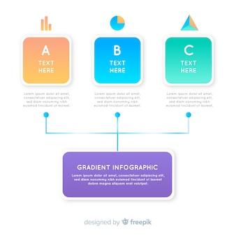 Infográfico de gradiente com diagrama de hierarquia
