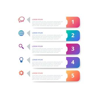 Infográfico de gradiente com etapas