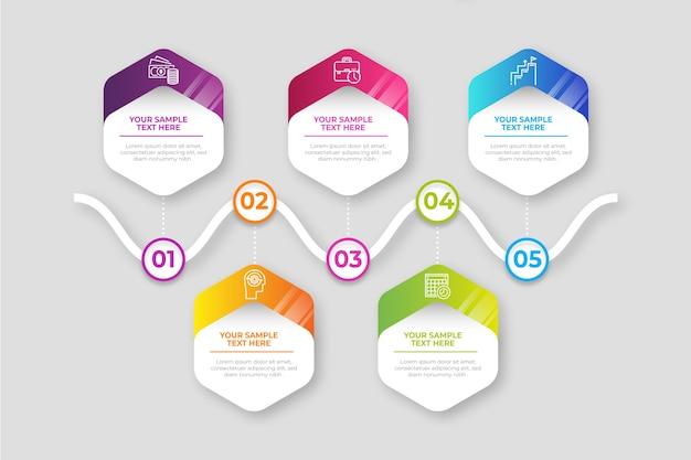 Infográfico de gradiente de negócios de etapas