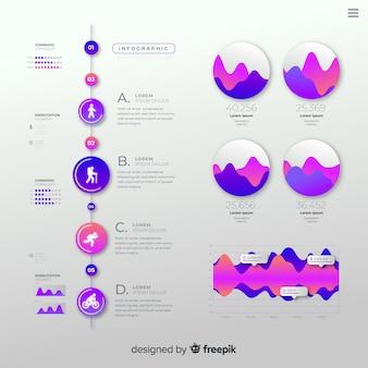 Infográfico de gradiente plana com estatísticas