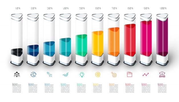 Infográfico de gráfico de barras com pedaço 3d colorido