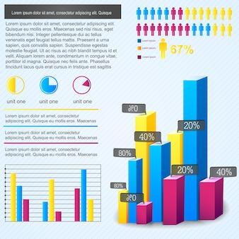 Infográfico de gráfico de barras multicolorido com proporção percentual de pessoas e local para texto