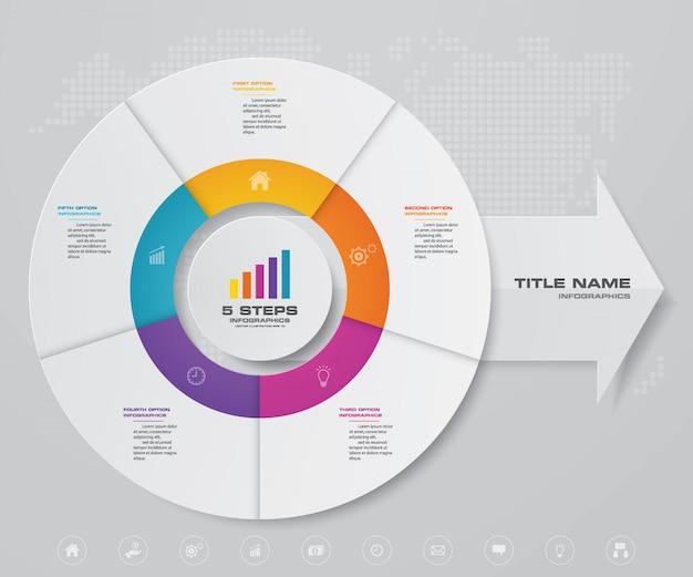 Infográfico de gráfico de ciclo e seta para apresentação de dados