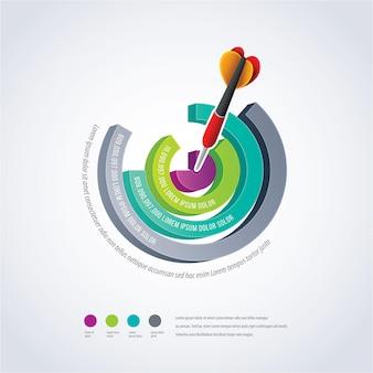 Infográfico de gráfico de pizza em 3d