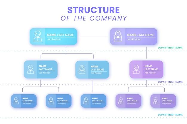 Infográfico de gráfico organizacional de gradiente
