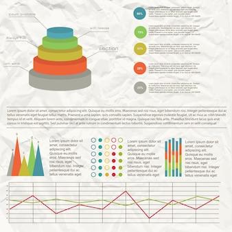 Infográfico de gráfico plano com diferentes tabelas e gráficos com efeito de papel amassado