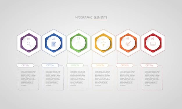 Infográfico de hexágono com 6 opções