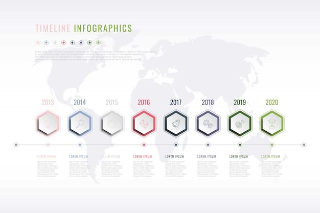 Infográfico de história corporativa com elementos hexagonais, indicação do ano e mapa do mundo