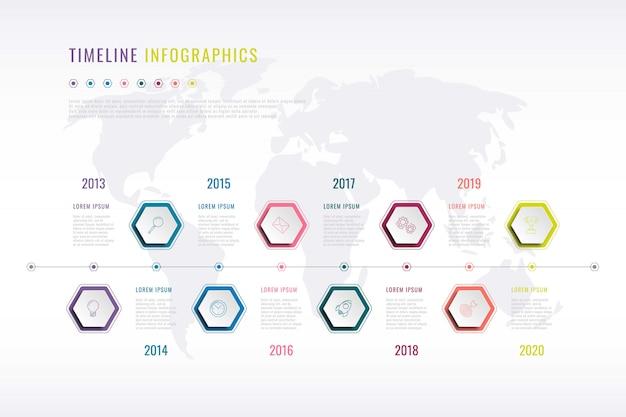 Infográfico de história da empresa com elementos hexagonais, indicação de ano e mapa-múndi na