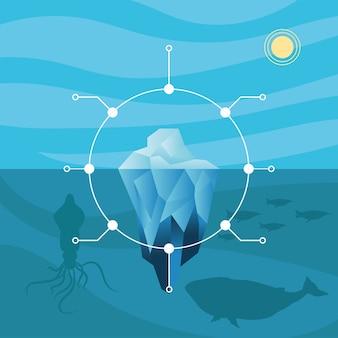 Infográfico de iceberg com desenho de polvo de baleia, análise de dados e tema de informação.