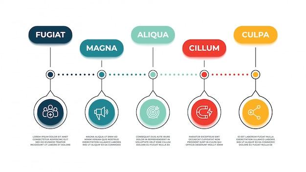 Infográfico de ícones de marketing de entrada. influência do público de ação, instrumentos de estratégia de marketing e conceito de promoção do site